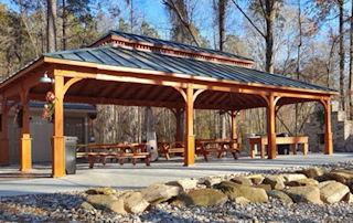 24' x 40' Custom Wood Double Hip Roof Pavilion