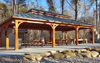 24' x 40' Custom Wood Double Hip Roof Pavilion