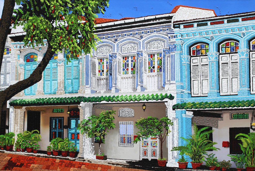 Art piece titled Baroque shophouses at Emerald Hill