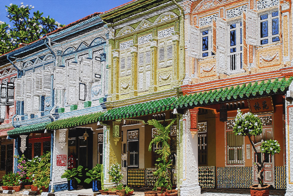Art piece titled Refined Rococo shophouses along Blair Road