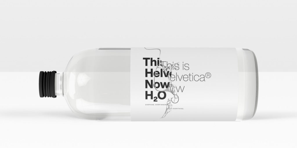 Halvetica Now typeface on water bottle