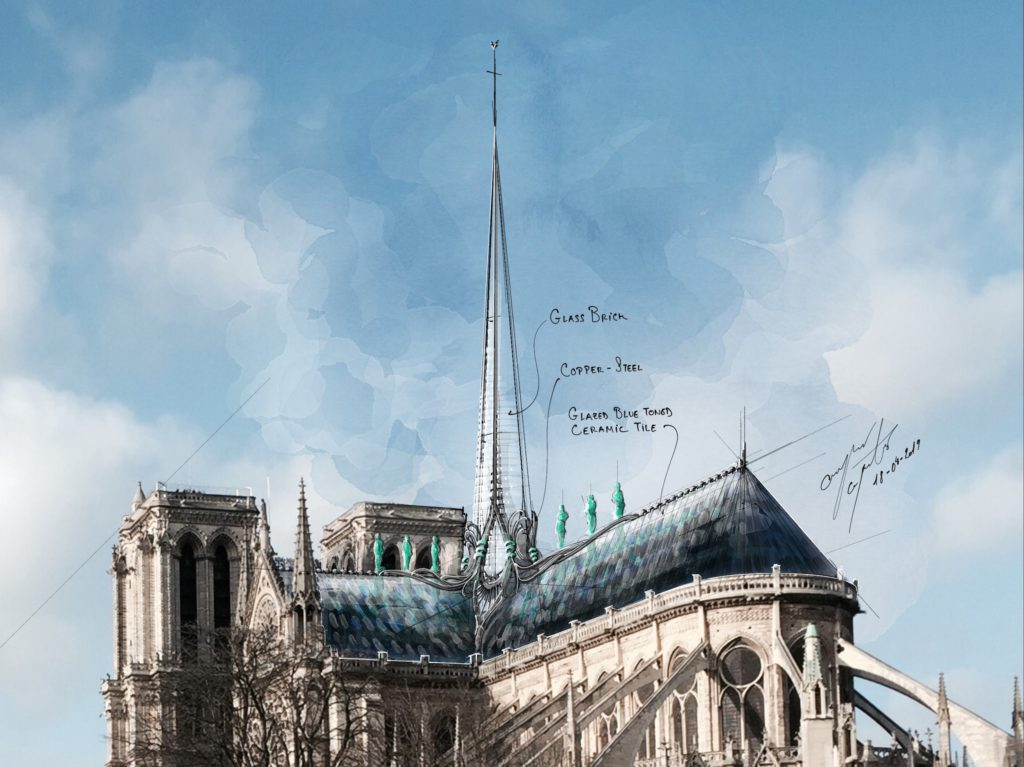 Hand drawing of Notre Dame cathedral by SB Architects