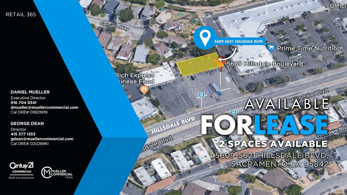 5609-5621 Hillsdale Blvd, Sacramento, CA 95842 • 2 Spaces Available For Lease | 450 SF | 628 SF • Total Building Size + 4,488 SF • Lease Rate Negotiable
