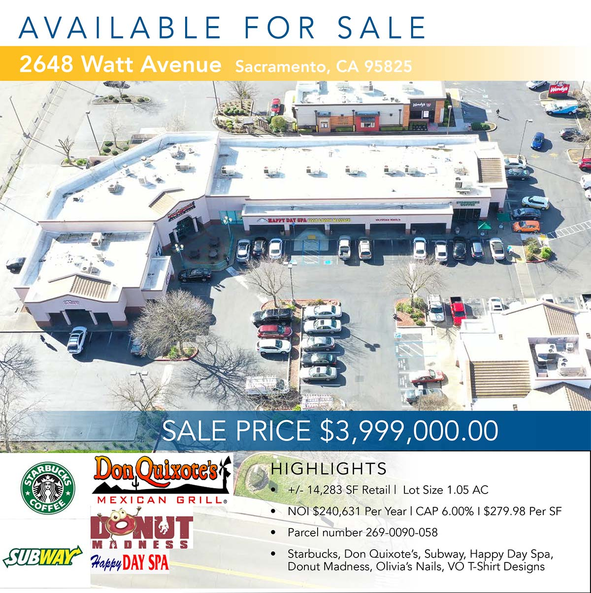 2648 Watt Ave Sacramento, CA 95821 • Sale Price $3,999,000.00 • +/- 14,283 SF Retail | Lot Size 1.05 AC • Parcel number 269-0090-058