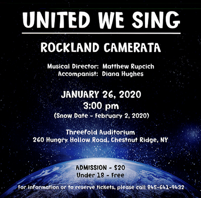 Rockland Camerata United We Sing Concert January 2020