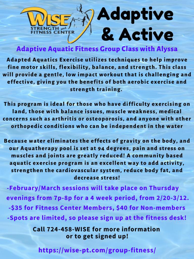 Adaptive & Active Aquatic Fitness Class Feb & March