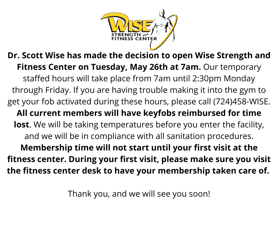 Wise Strength and Fitness Center Opening Notice