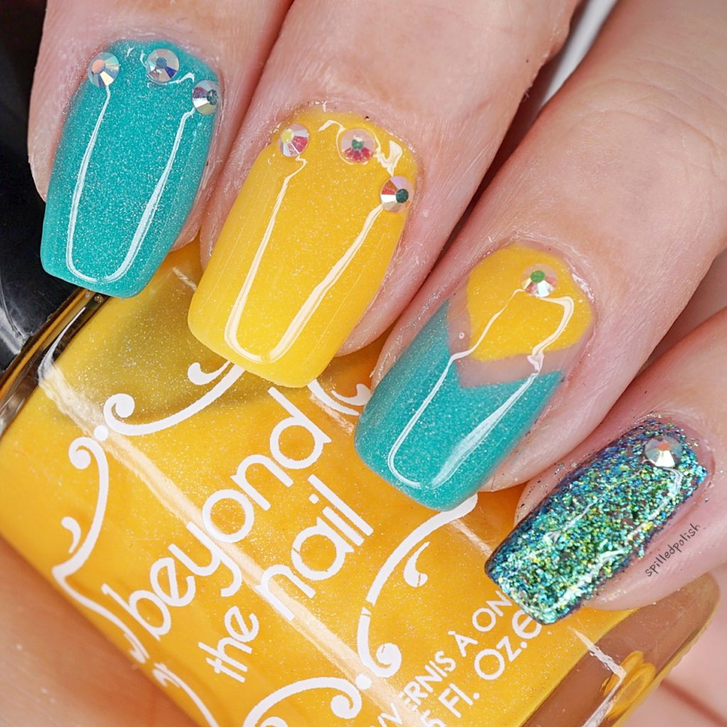 Teal and Yellow Nails