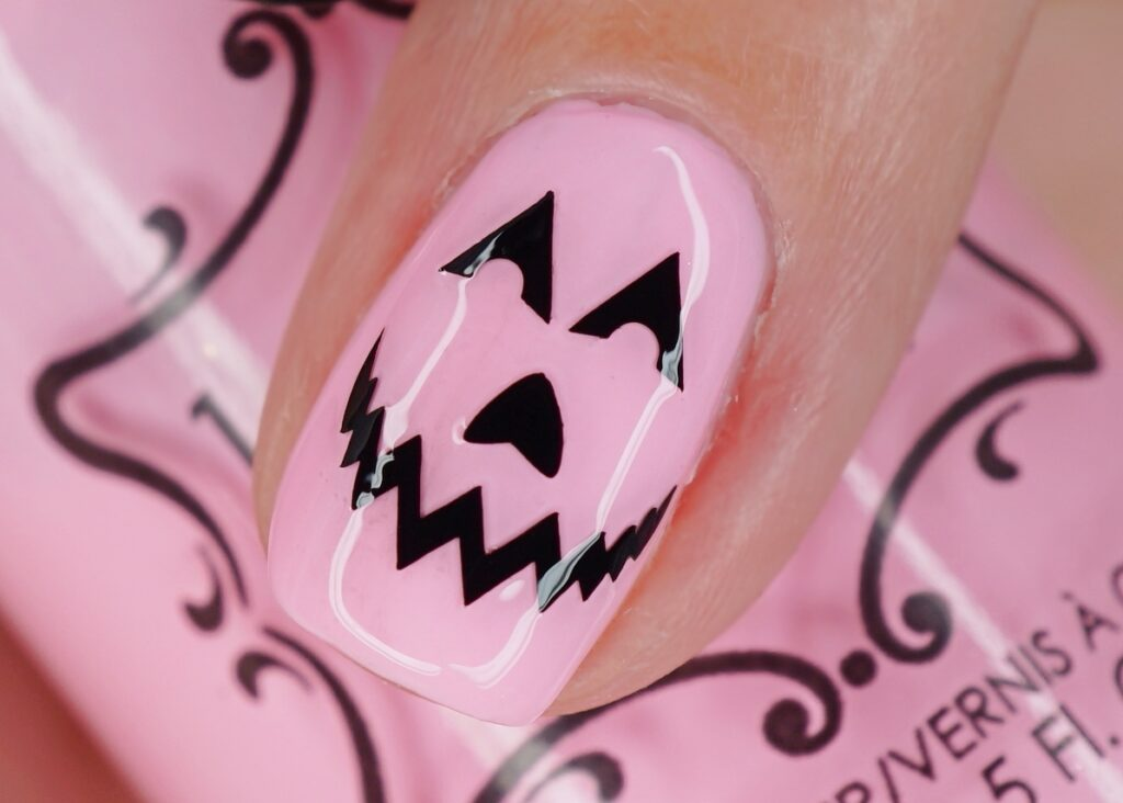 Pink Blood Drip & Pumpkin Nails