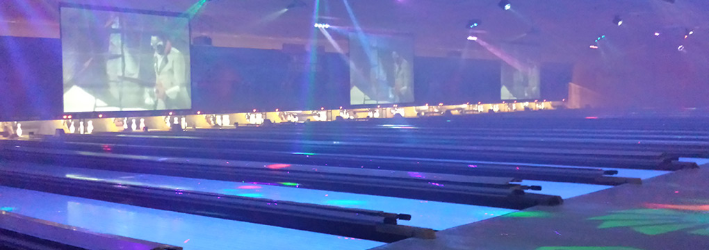 music and laser lights bowling party