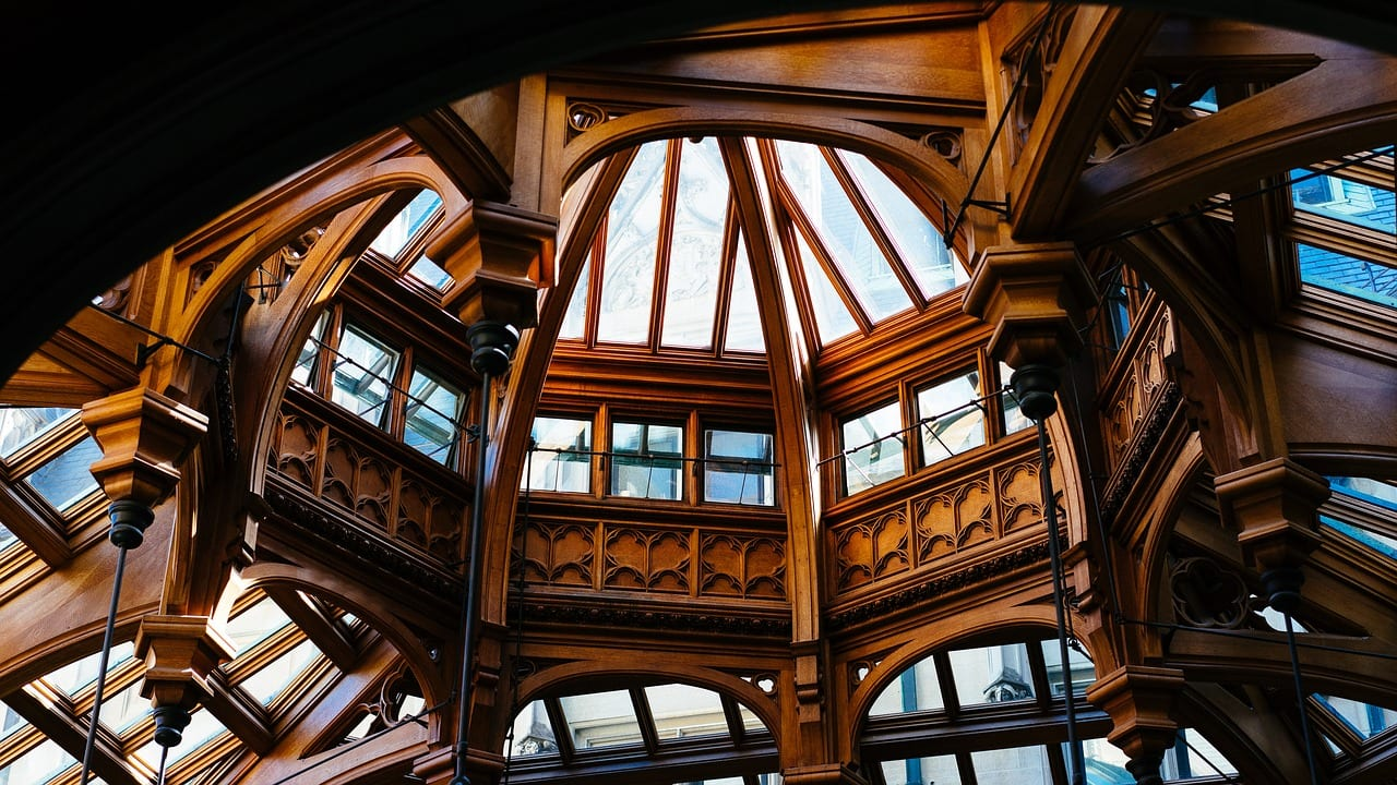 An arched ceiling made out of some of the most expensive woods in the world.