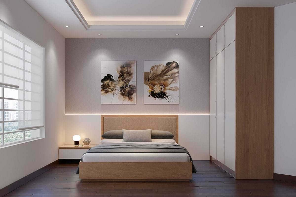 A bedroom styled in the Muji interior design.