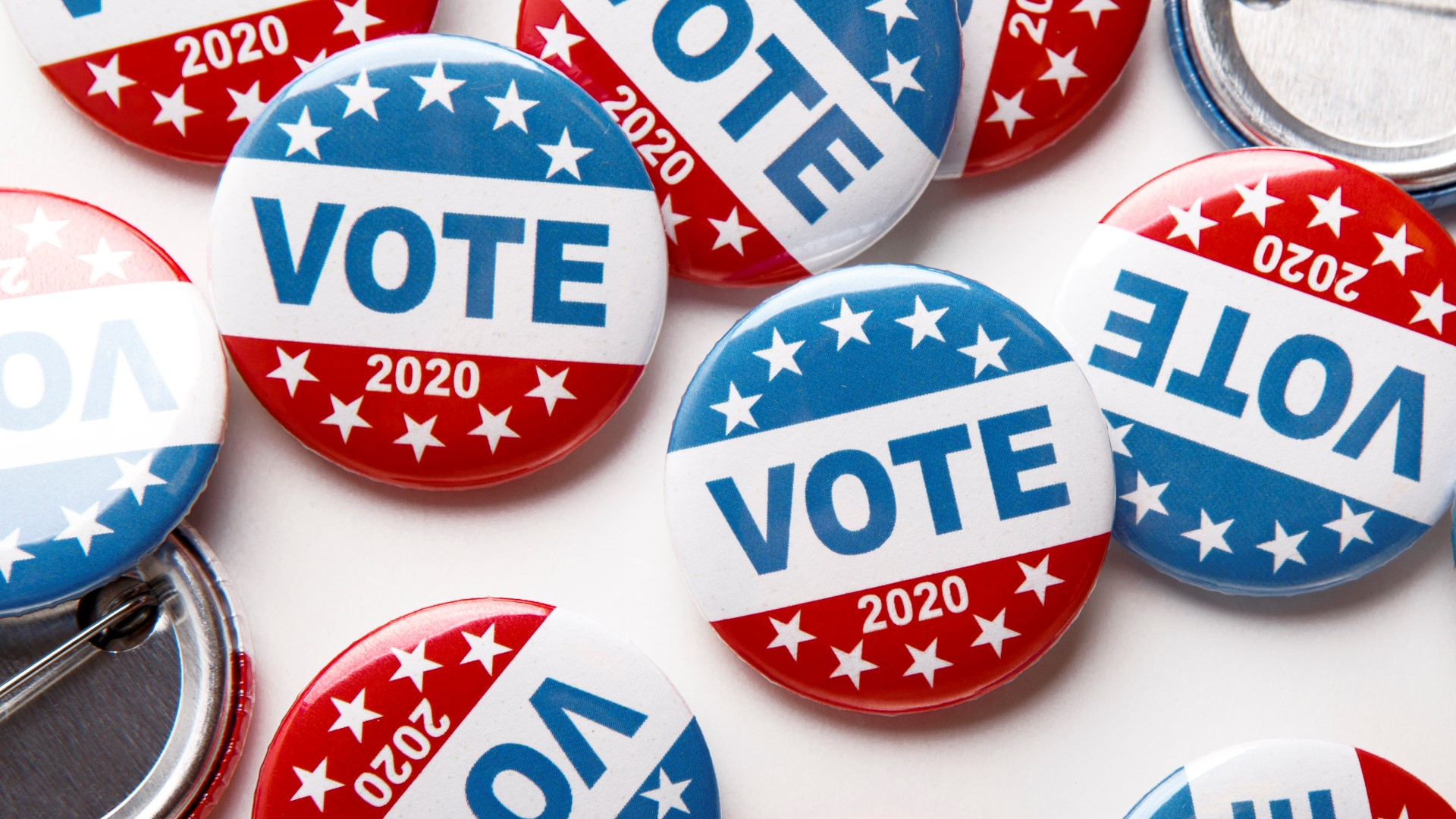 Election day. United States of America president voting 2020. Election voting buttons on white background, panorama