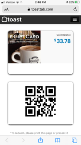 eGift Card view on phone