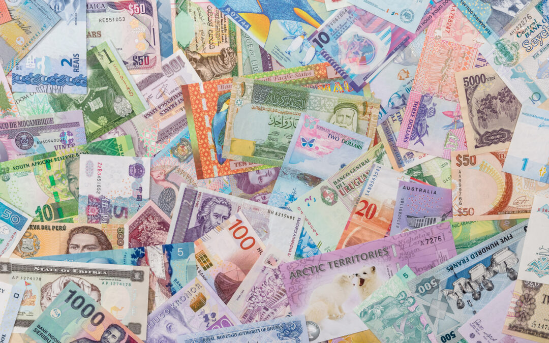 A display of various foreign money bills