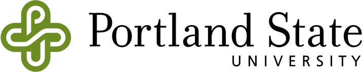 The Portland State University logo includes intertwined letters P, S and U that represent the interconnectedness of the university to the city, region and world, and the words 'Portland State University'.