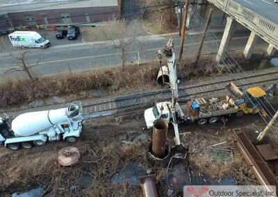 Arial view image Cementing foundation CSX Englewood New Jersey Billboard Project