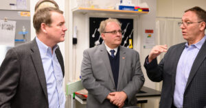 U.S. Sen. Michael Bennet; Ray Goodrich, executive director of CSU's Infectious Disease Research Center; and Alan Rudolph, CSU vice president for research, discuss CSU's approach to researching a vaccine for the novel coronavirus.