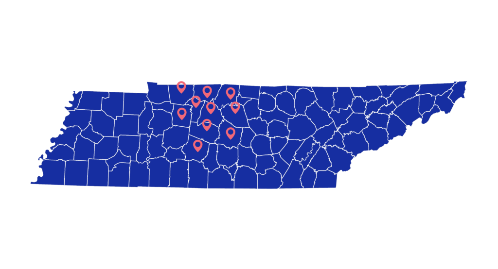 map of tennessee with pinpoint locations