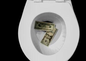 money wasting toilet