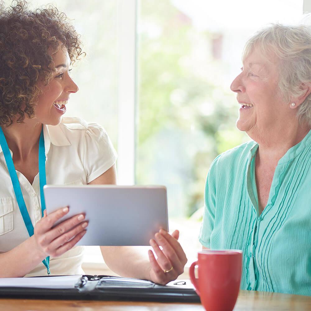 Caregiver showing client information