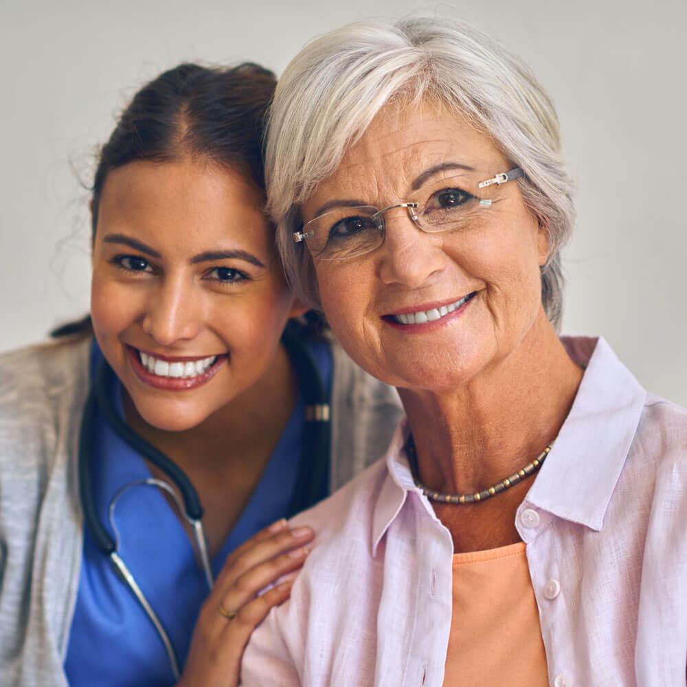 Nurse with client