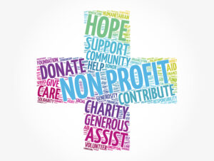 Non Profit cross word cloud, social concept background