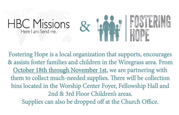 Supplies for Fostering Hope.