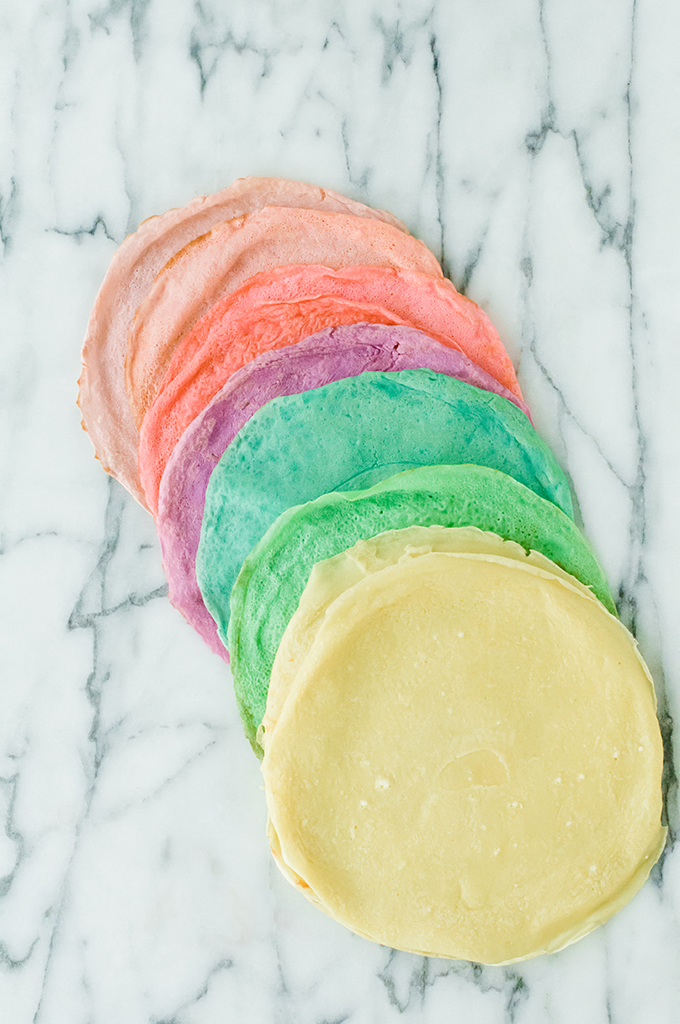 Rainbow Crepes with Key Lime Whipped Cream