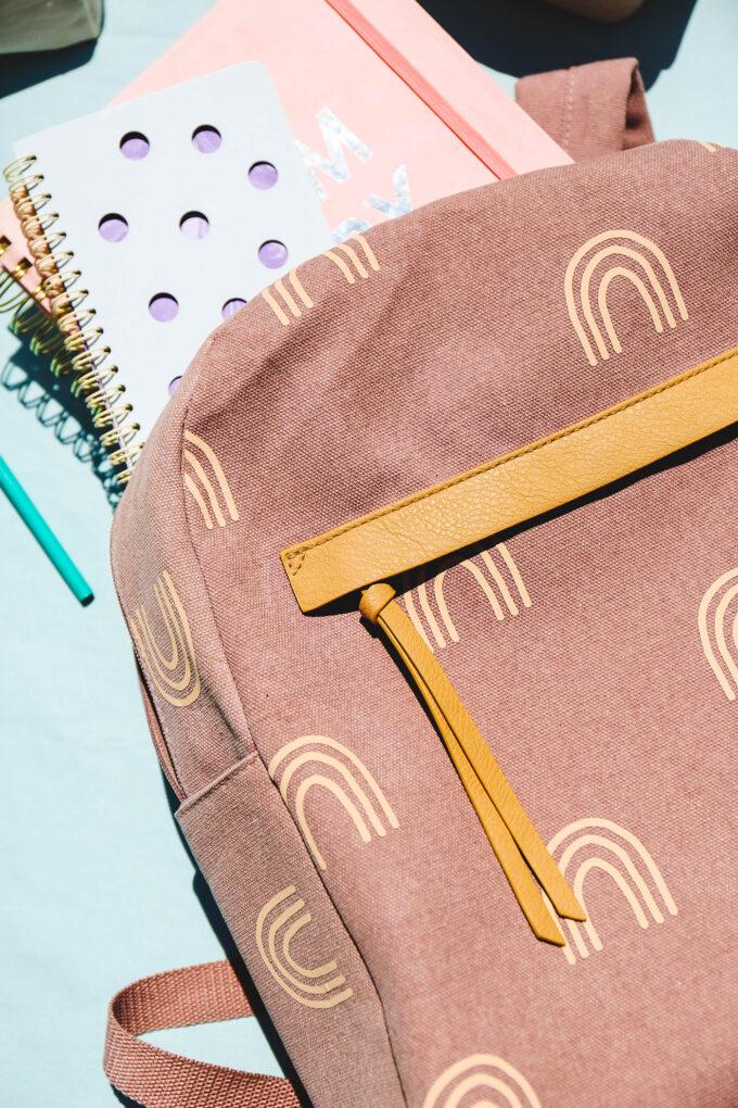 closeup of DIY backpack