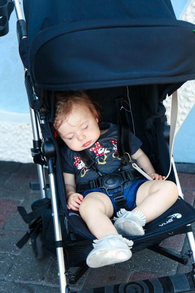 baby asleep in Disneyland
