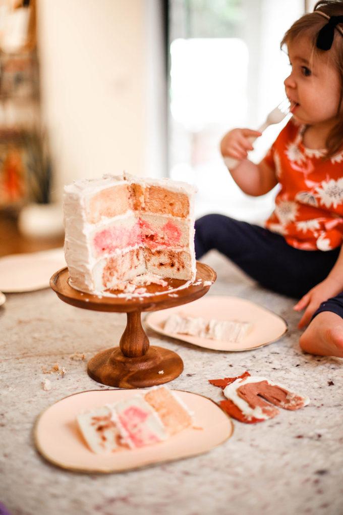 marbled inside of birthday cake
