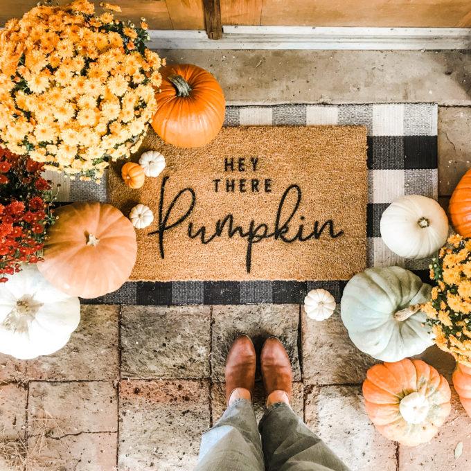 DIY pumpkin painted doormat