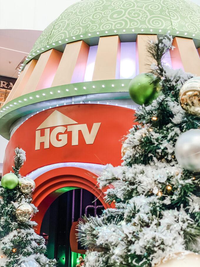 HGTV Santa HQ sign behind Christmas Tree