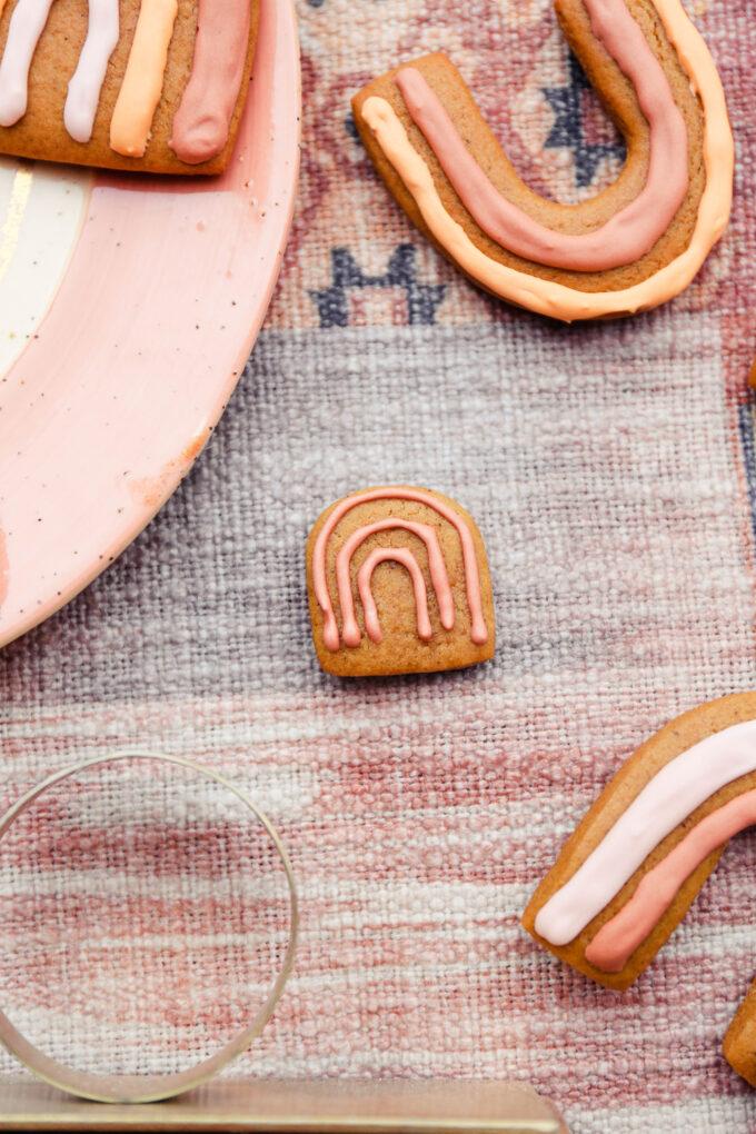 closeup of Boho Rainbow Gingerbread Cookies