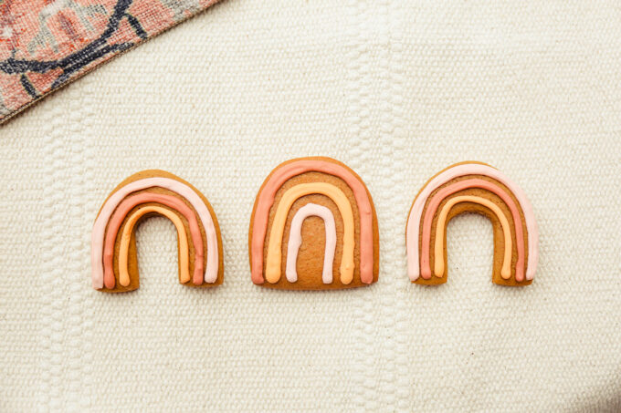 3 Boho Rainbow Gingerbread Cookies in a row