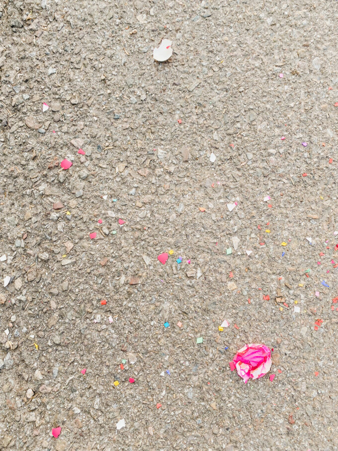 confetti on street closeup