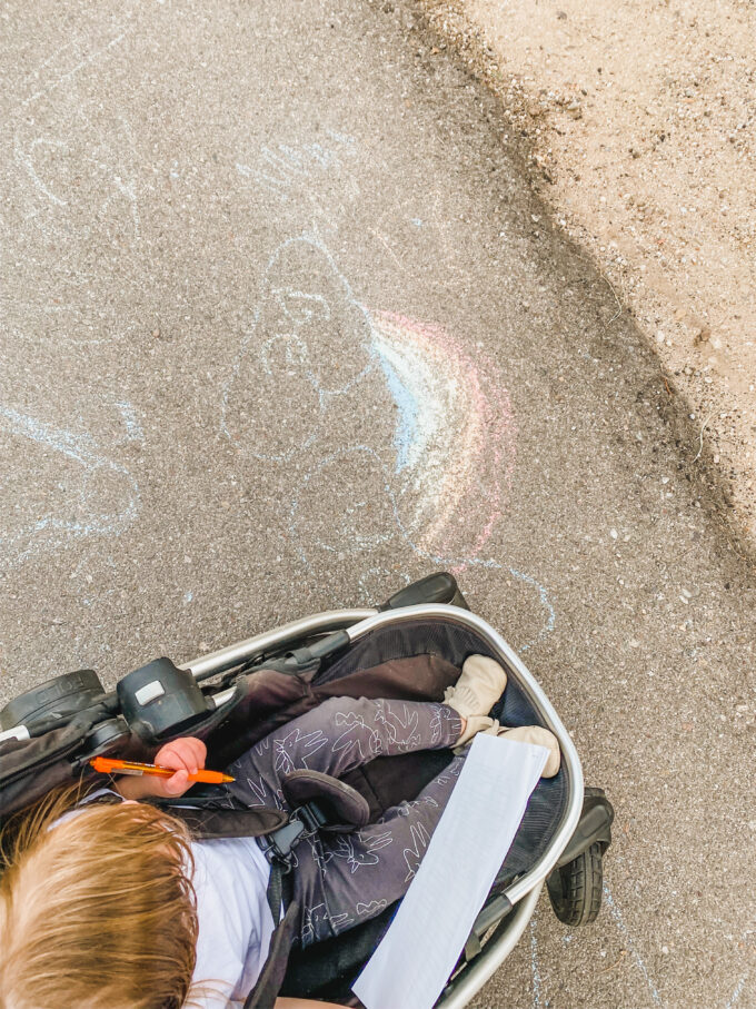 sidewalk chalk rainbow scavenger hunt