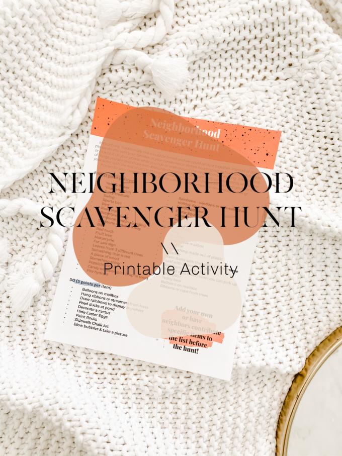 Neighborhood Scavenger Hunt Printable Activity \\ #ProperPrintables