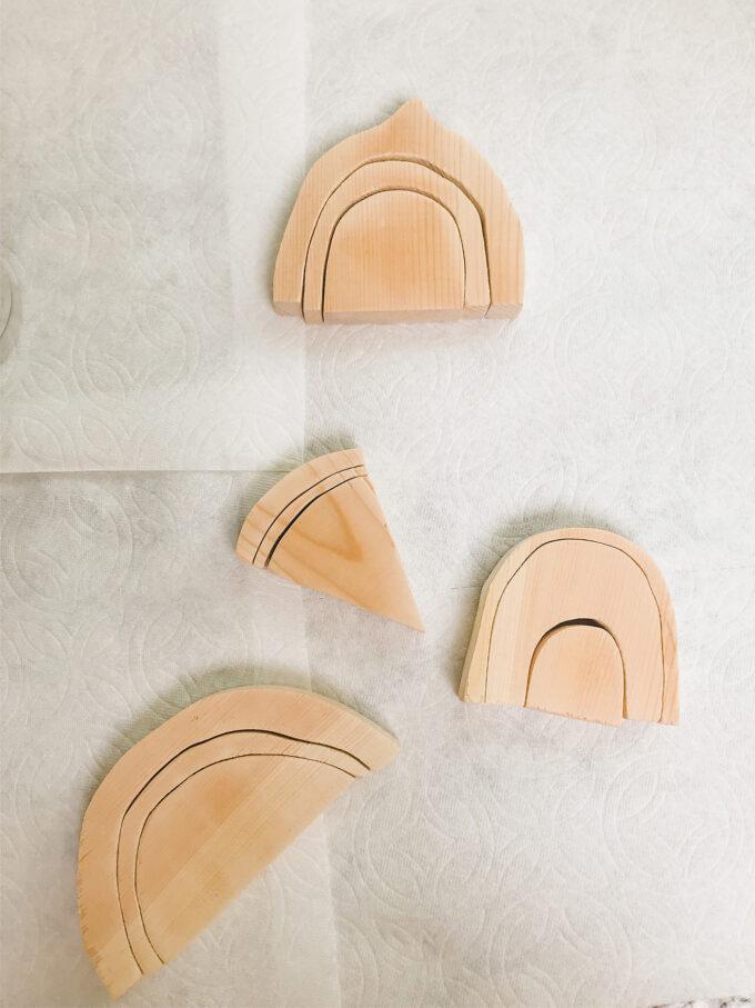 natural wooden fruit cutouts