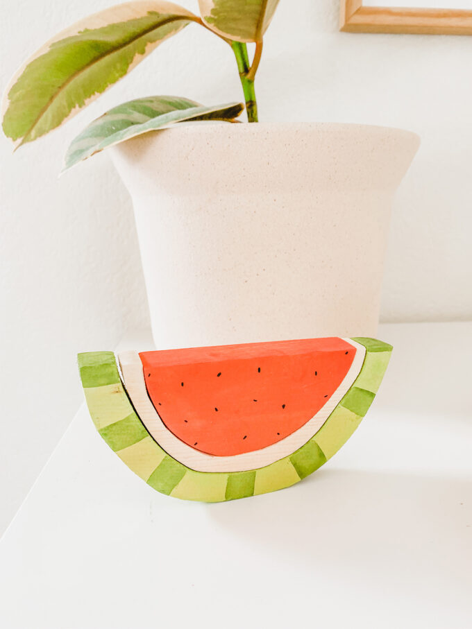 closeup of wooden watermelon stacking toy
