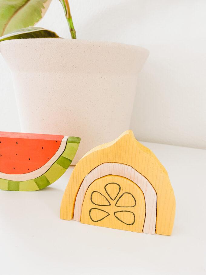 closeup of wooden lemon stacking toy