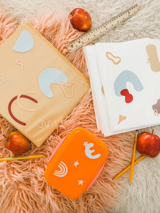 abstract stickers on school accessories