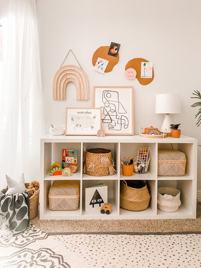 DIY Cork Board Wall Decor For Modern Kids Playroom