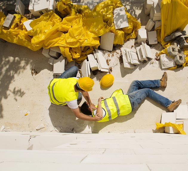 Injured Construction Worker Helped By Co-Worker
