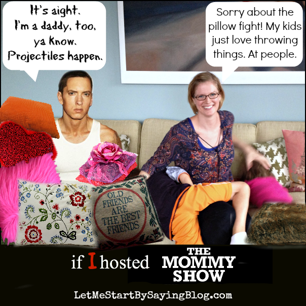 Pillow fight with Kim and Eminem on The Mommy Show via @letmestart