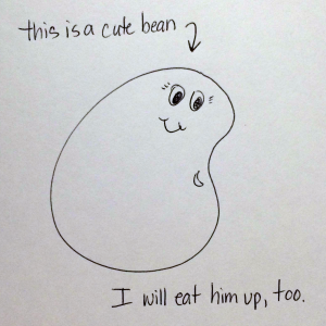 cute bean drawing by Kim Bongiorno who loves to eat cute baby faces