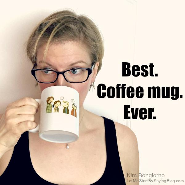 Kim Bongiorno drinking from Supernatural coffee mug