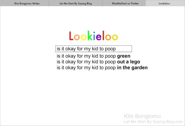 Lookieloo search for green poop question by Kim Bongiorno