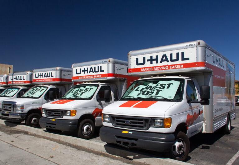 U-Haul Trucks Lined in a Row